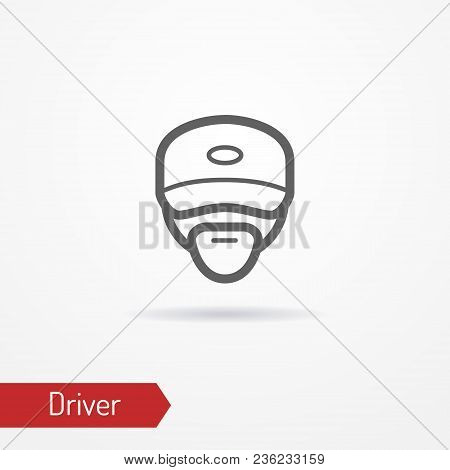 Typical Simplistic Driver Face In Baseball Cap. Truck Driver Or Delivery Guy Head Isolated Icon In L
