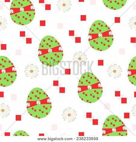 Seamless Tileable Vector With Easter Eggs And Daisy Flowers In Green And Red Colors