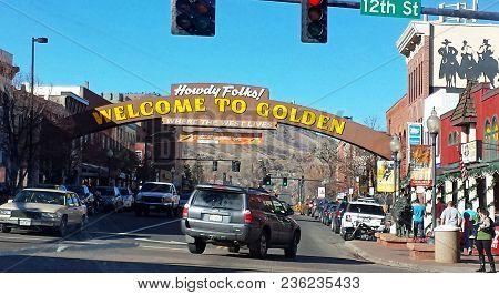 Golden, Colorado, America - November 29, 2014:golden Colorado Main Street With An Inscription