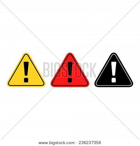 Exclamation Danger Sign, Vector Isolated Simple Color Set.