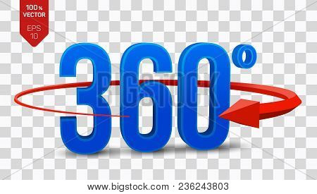 360 Degrees Sign. 3d Isometric Angle 360 Degrees View Icon Isolated On Transparent Background. Virtu