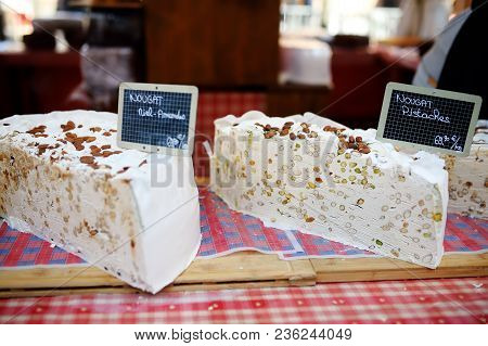 Variety Of Home Made Nougat On Farmer Market In Strasbourg, France. Typical European Local Farmer Ma