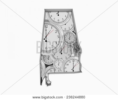 Alabama AL Clock Time Passing Forward Future 3d Illustration