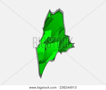 Maine ME Arrows Map Growth Increase On Rise 3d Illustration