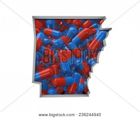 Arkansas AR Pills Drugs Health Care Insurance Map 3d Illustration
