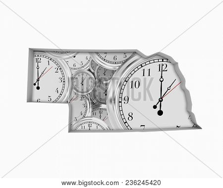 Nebraska NE Clock Time Passing Forward Future 3d Illustration