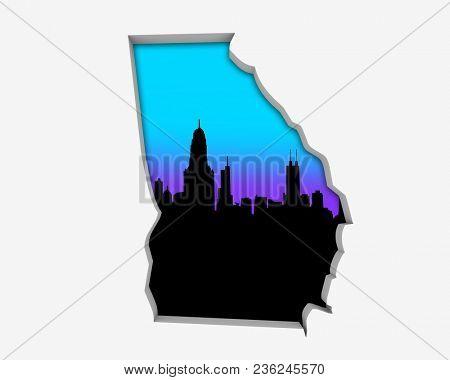 Georgia GA Skyline City Metropolitan Area Nightlife 3d Illustration