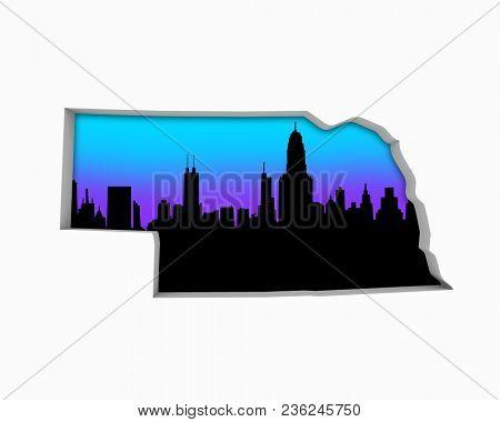 Nebraska NE Skyline City Metropolitan Area Nightlife 3d Illustration