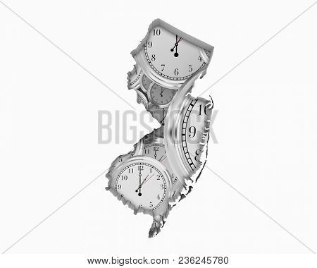 New Jersey NJ Clock Time Passing Forward Future 3d Illustration