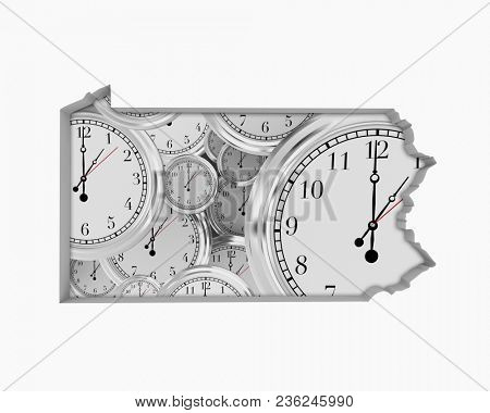 Pennsylvania PA Clock Time Passing Forward Future 3d Illustration