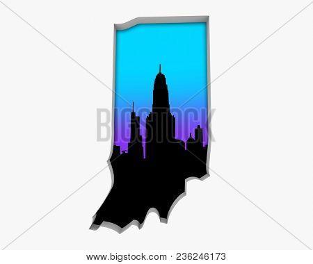 Indiana IN Skyline City Metropolitan Area Nightlife 3d Illustration