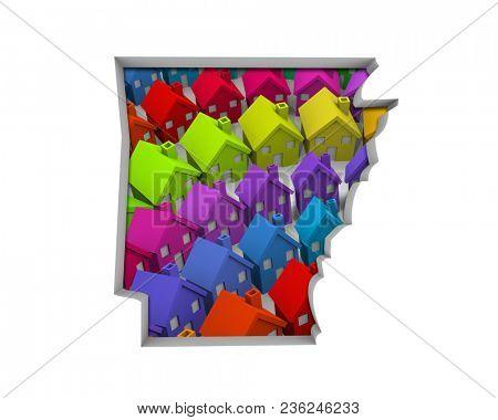 Arkansas AR Homes Homes Map New Real Estate Development 3d Illustration