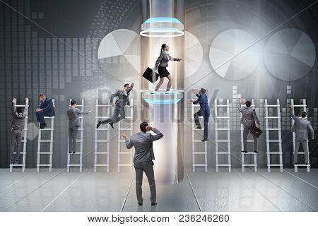 Businesswoman in accelerated and fast promotion concept