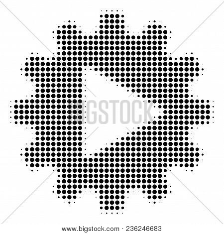 Automation Halftone Vector Pictogram. Illustration Style Is Dotted Iconic Automation Icon Symbol On