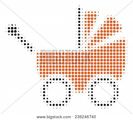 Baby Carriage Halftone Vector Pictogram. Illustration Style Is Dotted Iconic Baby Carriage Icon Symb