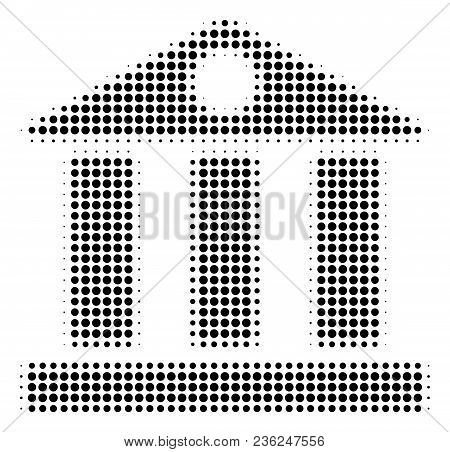 Bank Building Halftone Vector Icon. Illustration Style Is Dotted Iconic Bank Building Icon Symbol On
