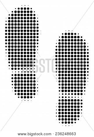 Boot Footprints Halftone Vector Icon. Illustration Style Is Dotted Iconic Boot Footprints Icon Symbo