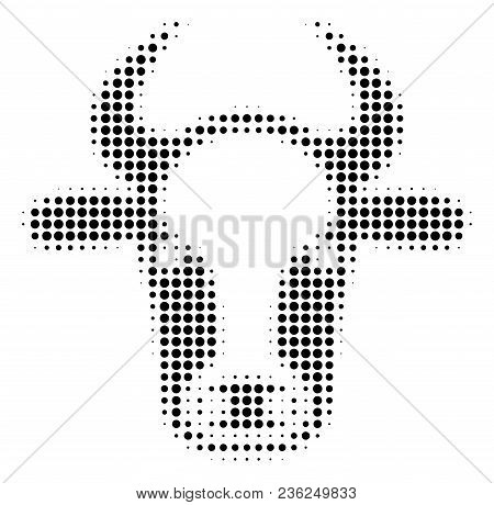 Cow Head Halftone Vector Icon. Illustration Style Is Dotted Iconic Cow Head Icon Symbol On A White B