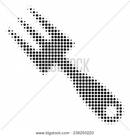 Cultivator Rake Halftone Vector Pictogram. Illustration Style Is Dotted Iconic Cultivator Rake Icon