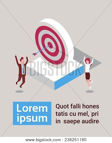 Successful Business Man And Woman Hit Arrow In Target Success Strategy Isometric Vector Illustration