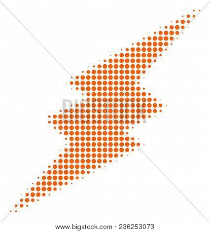 Electric Spark Halftone Vector Icon. Illustration Style Is Dotted Iconic Electric Spark Icon Symbol