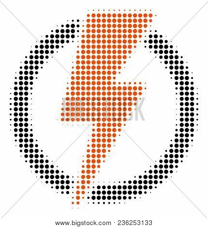 Electricity Halftone Vector Pictogram. Illustration Style Is Dotted Iconic Electricity Icon Symbol O