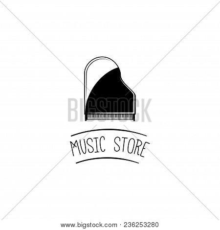 Grand Piano. Music Store Logo Label. Musical Instrument. Vector Illustration