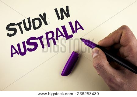 Conceptual Hand Writing Showing Study In Australia. Business Photo Showcasing Graduate From Oversea