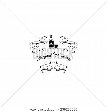 Whiskey Scotch Bottle Icon. Swirls, Scroll Elements, Ornate Filigree Border, Frame. Vector Illustrat