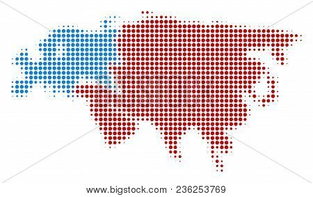Europe And Asia Map Halftone Vector Icon. Illustration Style Is Dotted Iconic Europe And Asia Map Ic