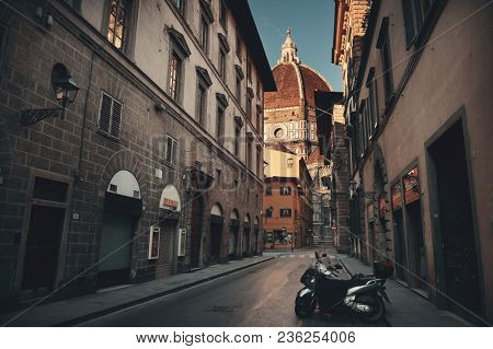 FLORENCE - MAY 20: Street view with Cathedral on May 20, 2016 in Florence, Italy. Florence was a center of medieval European trade and finance and is the birthplace of the Renaissance