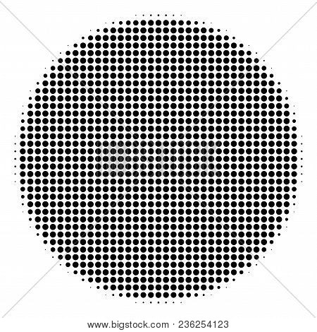 Filled Circle Halftone Vector Icon. Illustration Style Is Dotted Iconic Filled Circle Icon Symbol On