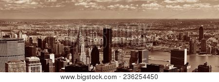 NEW YORK CITY, NY, USA - JUL 12: Chrysler Building and skyline on July 12, 2014 in Manhattan, New York City. It was designed by William Van Alena as Art Deco architecture and the famous landmark.