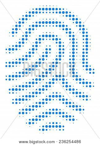 Fingerprint Halftone Vector Pictogram. Illustration Style Is Dotted Iconic Fingerprint Icon Symbol O