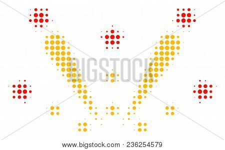 Fireworks Explosion Halftone Vector Pictogram. Illustration Style Is Dotted Iconic Fireworks Explosi