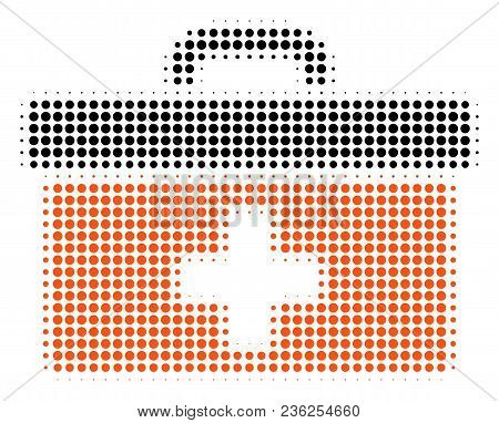 First Aid Toolbox Halftone Vector Pictogram. Illustration Style Is Dotted Iconic First Aid Toolbox I