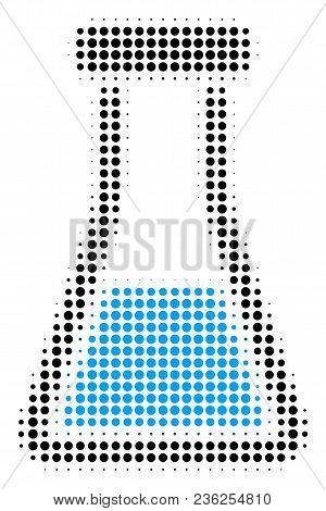 Flask Halftone Vector Icon. Illustration Style Is Dotted Iconic Flask Icon Symbol On A White Backgro