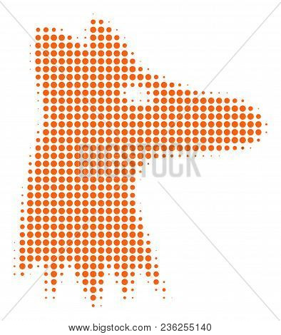 Fox Head Halftone Vector Icon. Illustration Style Is Dotted Iconic Fox Head Icon Symbol On A White B