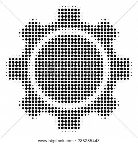 Gear Halftone Vector Pictogram. Illustration Style Is Dotted Iconic Gear Icon Symbol On A White Back