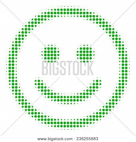 Glad Smiley Halftone Vector Icon. Illustration Style Is Dotted Iconic Glad Smiley Icon Symbol On A W