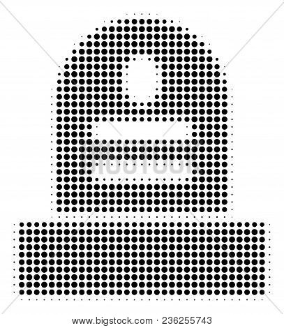 Grave Halftone Vector Icon. Illustration Style Is Dotted Iconic Grave Icon Symbol On A White Backgro