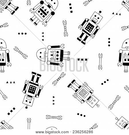 Robot And Spanner Seamless Pattern In Scandinavian Style