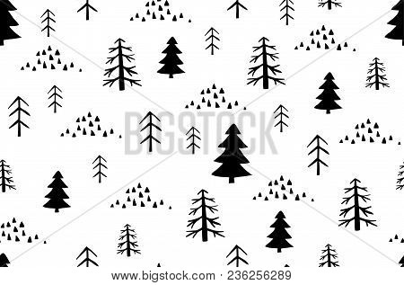 Wild Forest Vector Background. Scandinavian Style Seamless Pattern With Trees.