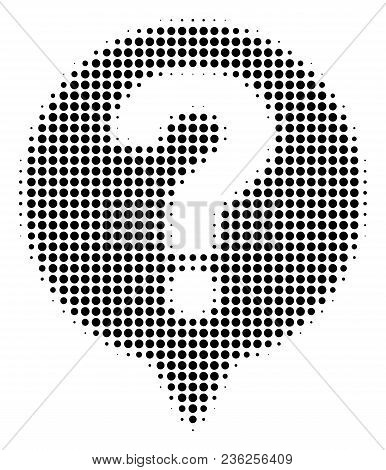 Help Balloon Halftone Vector Pictogram. Illustration Style Is Dotted Iconic Help Balloon Icon Symbol