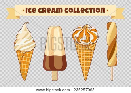Ice Cream Collection At Transparent Background. Colorful Bright Ice Cream, Waffle Cones And Fruit Ic