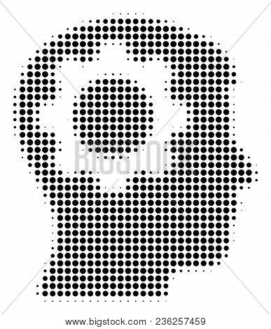Intellect Gear Halftone Vector Icon. Illustration Style Is Dotted Iconic Intellect Gear Icon Symbol