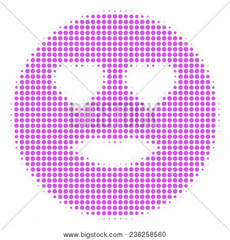 Lady Love Smiley Halftone Vector Icon. Illustration Style Is Dotted Iconic Lady Love Smiley Icon Sym