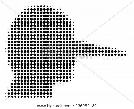 Lier Halftone Vector Pictogram. Illustration Style Is Dotted Iconic Lier Icon Symbol On A White Back