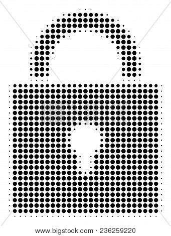 Lock Halftone Vector Icon. Illustration Style Is Dotted Iconic Lock Icon Symbol On A White Backgroun
