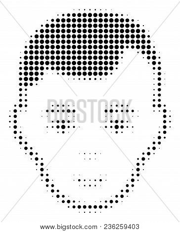 Man Head Halftone Vector Icon. Illustration Style Is Dotted Iconic Man Head Icon Symbol On A White B